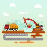 Excavator and truck. Flat vector illustration of excavator in work. Excavator loading sand into a truck. Industrial landscape, construction process Stock Photography