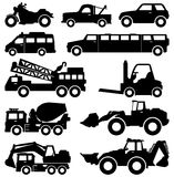 Excavator Truck Van Limousine Lorry Car Forklift V. A set of transportation type and construction vehicles Royalty Free Stock Photos