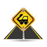 Excavator truck yellow road street sign Royalty Free Stock Images