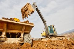 Excavator loading Royalty Free Stock Images