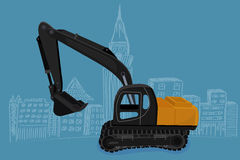 Excavator, vector illustration Stock Photography