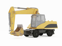 Excavator on a white background. 3D rendering Royalty Free Stock Photos