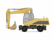 Excavator on a white background. 3D rendering Royalty Free Stock Images