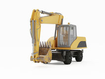 Excavator on a white background. 3D rendering Stock Photo