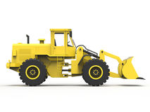 Excavator on a white uniform background. Backhoe loader. 3d illustration. Stock Photos