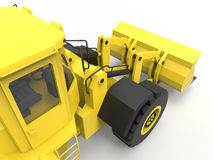 Excavator on a white uniform background. Backhoe loader. 3d illustration. Royalty Free Stock Images