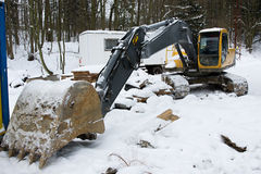 Excavator in winter Royalty Free Stock Photography