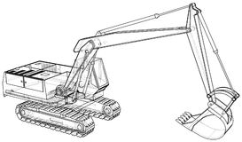Excavator. Wire-frame. EPS10 format. Vector rendering of 3d. Stock Photo