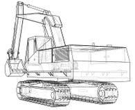 Excavator. Wire-frame. EPS10 format. Vector rendering of 3d. Stock Image