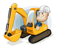Excavator With Labor Stock Photography