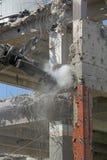Excavator work. Demolition tongs, hard works stock photography