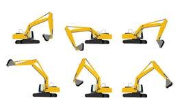 Excavator Work Set. Vector Illustration Stock Images