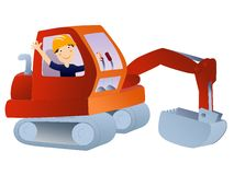 Excavator with worker illustration Stock Photo