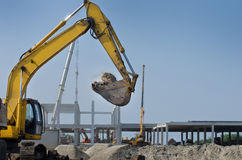 Excavator working on building site Royalty Free Stock Image