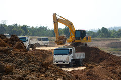 Excavator working in construction site Royalty Free Stock Photos