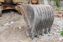 Excavator working destruction in Work outdoor construction Royalty Free Stock Photo