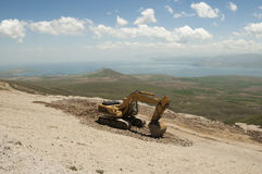 Excavator working on nature Stock Photo
