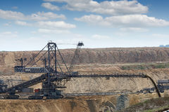 Excavator working on open pit coal mine Royalty Free Stock Photo