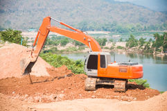 Excavator on a working platform Royalty Free Stock Images