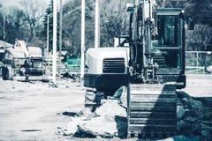 Excavator Works Royalty Free Stock Photo