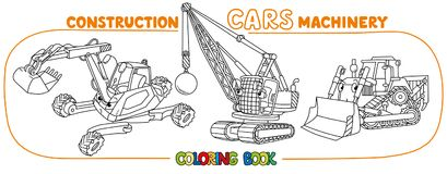 Funny constuction cars set. Coloring book. Excavator, wrecking ball truck and construction tractor coloring book set for kids. Small funny vector cute cars with Stock Photos