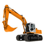 Excavator yellow 3d Royalty Free Stock Photo