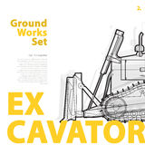 Excavator - yellow and orange typography set of ground works machines vehicles. Stock Photos