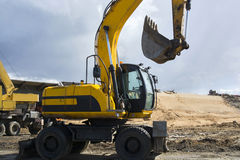 Excavator yellow Stock Photo
