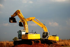 Excavators. Image of earth moving equipment Stock Image