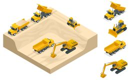 Isometric excavators and bulldozers dig a pit on the sand quarry. Excavators and bulldozers dig a pit on the sand quarry. A high-mining industry machinery Stock Images