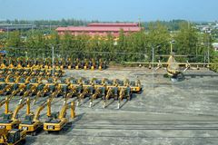 Excavators company Caterpillar on pre-sale Parking in the Kingdom of Thailand royalty free stock photo