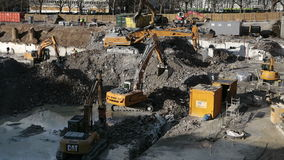 Excavators and construction machinery stock video
