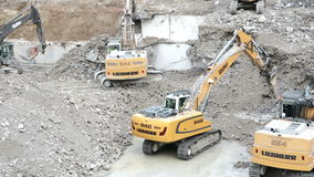 Excavators and construction machinery stock video footage