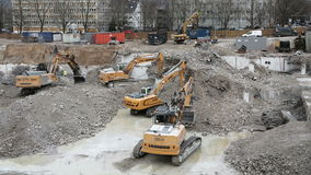 Excavators and construction machinery stock footage