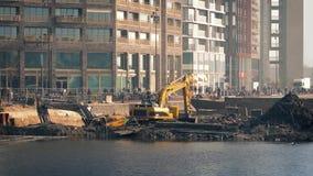 Excavators Digging Up Future Construction Site stock video