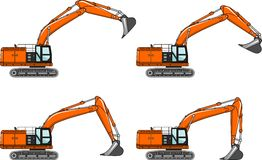 Excavators. Heavy construction machines. Vector Stock Images