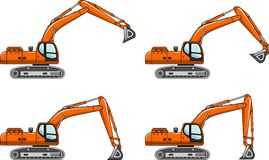 Excavators. Heavy construction machines. Vector illustration Royalty Free Stock Photography