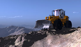 Excavators in the mountains. Royalty Free Stock Images