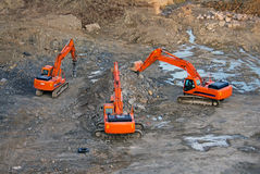 Excavators in mourning Royalty Free Stock Photos