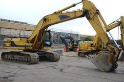 Excavators, new construction Stock Images