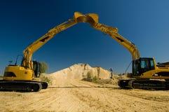 Excavators Open House. An open house excavators in extraction quarry Stock Image