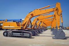 photo of brand new excavators series royalty free stock image