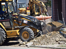 Excavators at the road construction Royalty Free Stock Photography