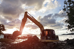 Excavators stay parking Royalty Free Stock Photo