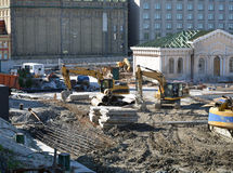 Excavators used for reconstruction purposes Stock Photography