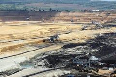 Excavators working on open pit coal mine Stock Images