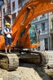 Excavatrice au travail Image libre de droits