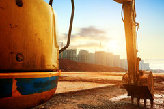 Excavatrice de chantier de construction Photo stock