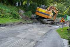 Excavatrice de construction de routes Photos stock