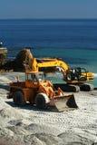 Excavatrice/drague au travail photos stock
